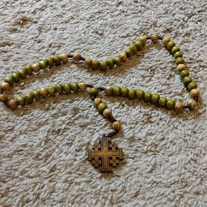 Jewelry - Wooden rosary with Jerusalem cross